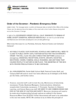 Order of the Governor – Pandemic Emergency Order